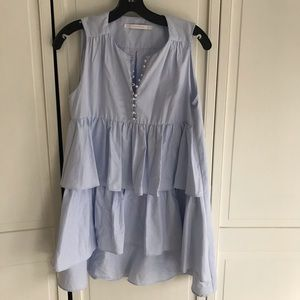 Zara tiered tunic with pearl buttons